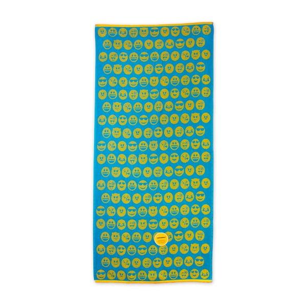 Zielono-żółty bawełniany ręcznik plażowy Bergner Emoticon, 75x150cm