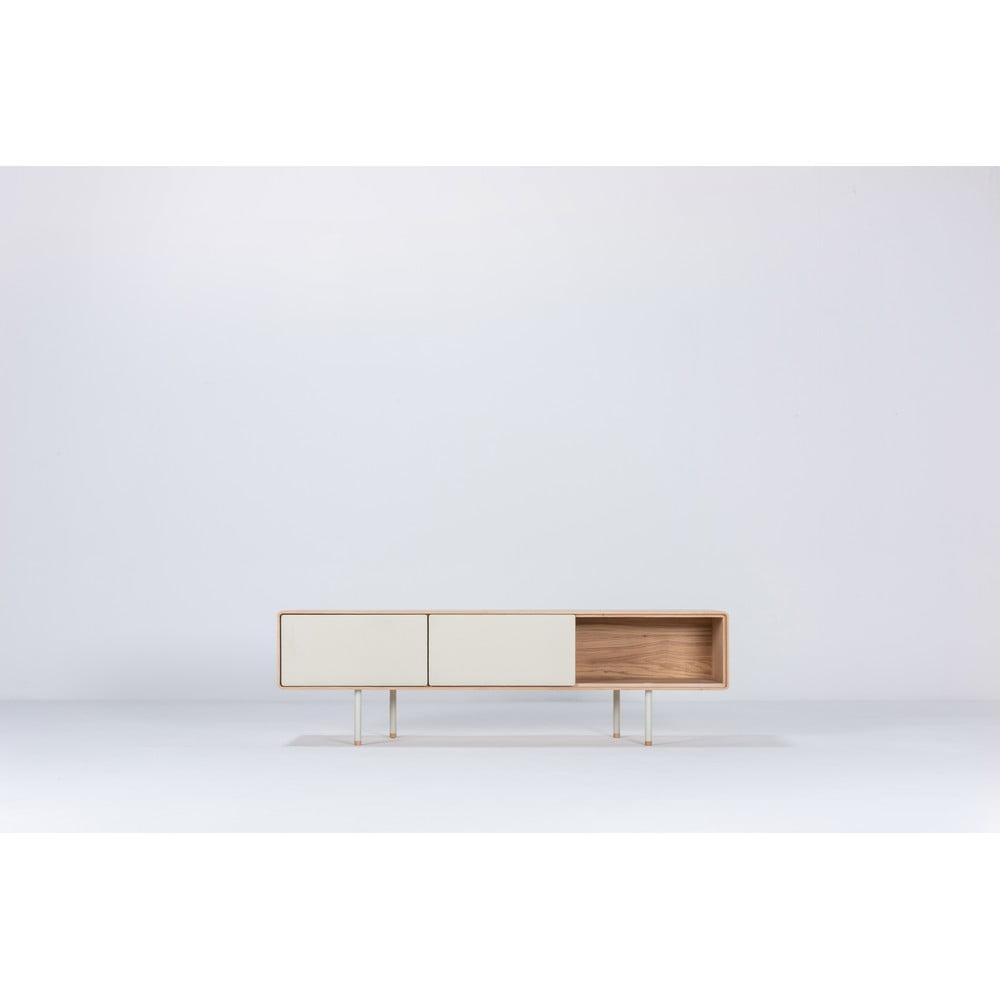 Biała szafka pod TV z drewna dębowego Gazzda Fina, szer. 160 cm