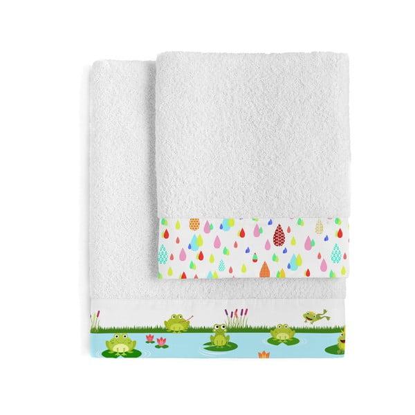 Komplet 2 ręczników Happy Frogs, 50x100 cm i 70x140 cm
