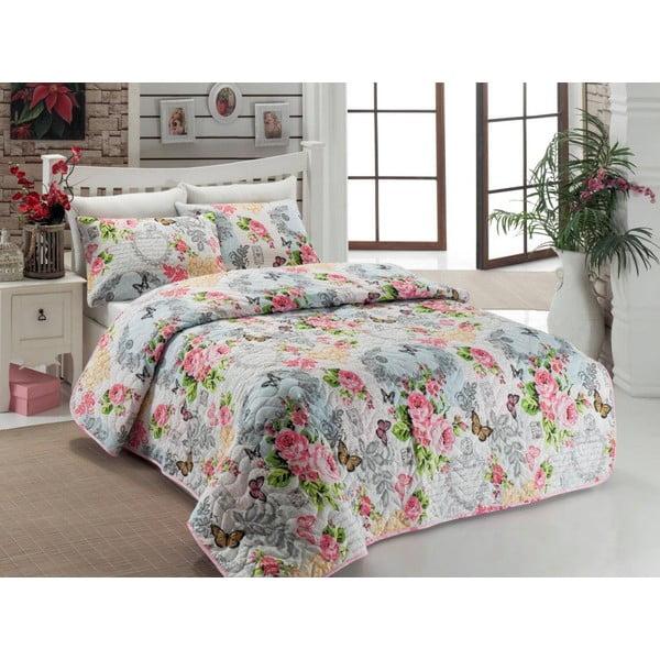 Narzuta i poszewki na poduszkę Mimoza Pink, 200x220 cm