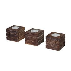Zestaw 3 brązowych świeczników Mendler Shabby Tolve