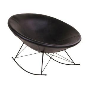 Czarny fotel na biegunach House Nordic Kissa Faux