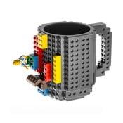 Szary kubek plastikowy z motywem LEGO z klockami Just Mustard, 350 ml