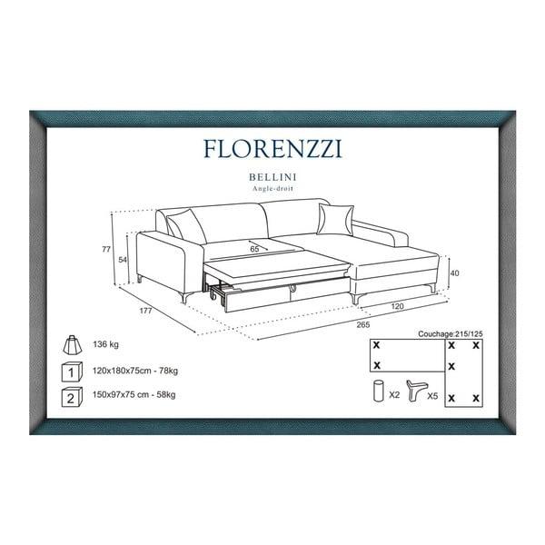 Narożnik rozkładany prawostronny Florenzzi Bellini Brown/Cream
