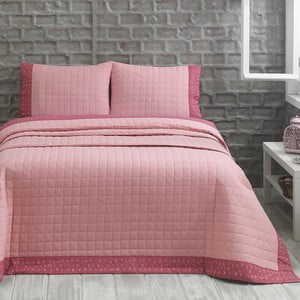 Narzuta z dwiema poszewkami na poduszkę Jolly Pink, 240x250 cm