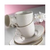 Zestaw 6 porcelanowych filiżanek z podstawkami Simple White