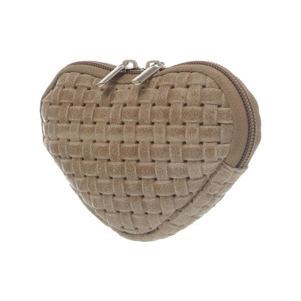 Zamszowa portmonetka Heart Taupe