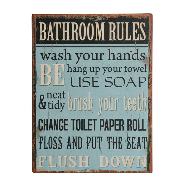 Tablica Bathroom rules