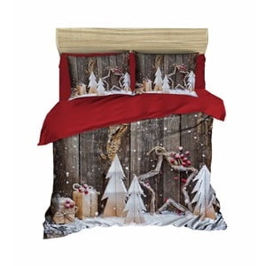 Dwuosobowa pościel z prześcieradłem Christmas Wood, 200x220cm
