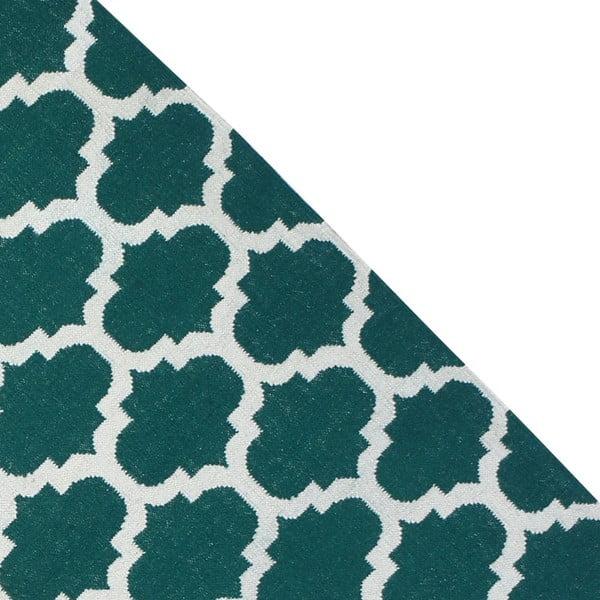 Dywan wełniany Geometry Guilloche Green & White, 160x230 cm