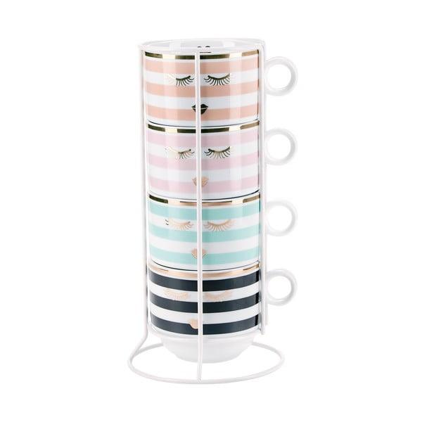 Zestaw 4 filiżanek na espresso ze stojakiem Miss Étoile Stripes