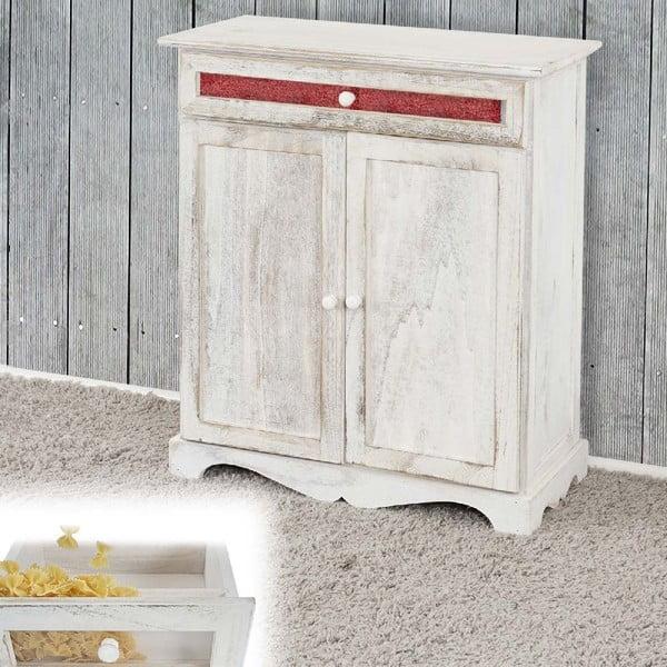 Biała szafka Mendler Shabby Vintage, 77x66x32 cm
