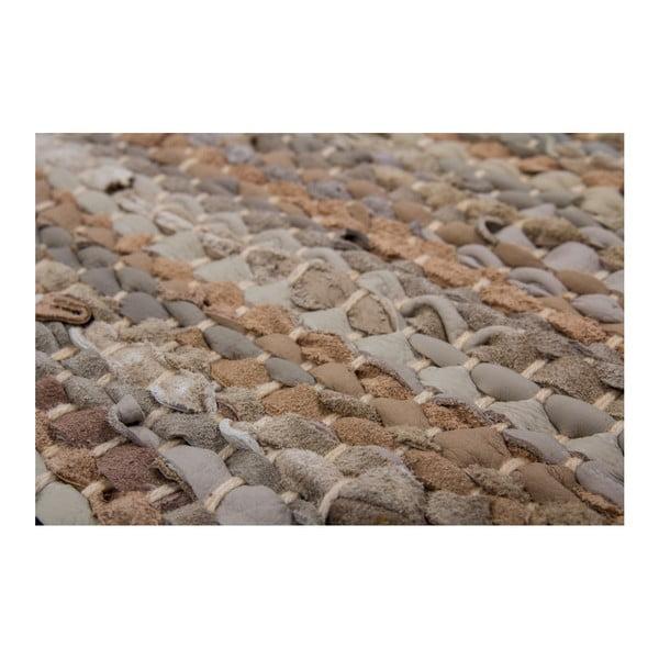 Beżowy skórzany dywan Kayoom Rajpur, 70x190 cm
