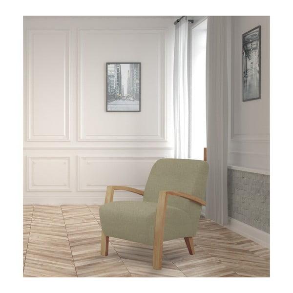 Beżowy fotel z jasnymi podłokietnikami Helga Interiors Luna