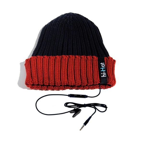 Czapka Hi-Hat ze słuchawkami, niebieska/czerwona