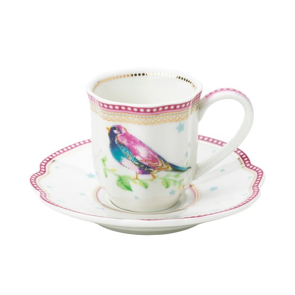 Porcelanowa filiżanka na espresso ze spodkiem Birdie Lisbeth Dahl, 2 szt.