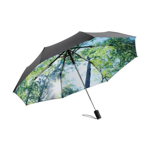 Zielono-czarna parasolka Ambiance Forest, ⌀100cm