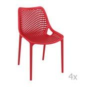 Zestaw 4 czerwonych krzeseł ogrodowych Resol Grid