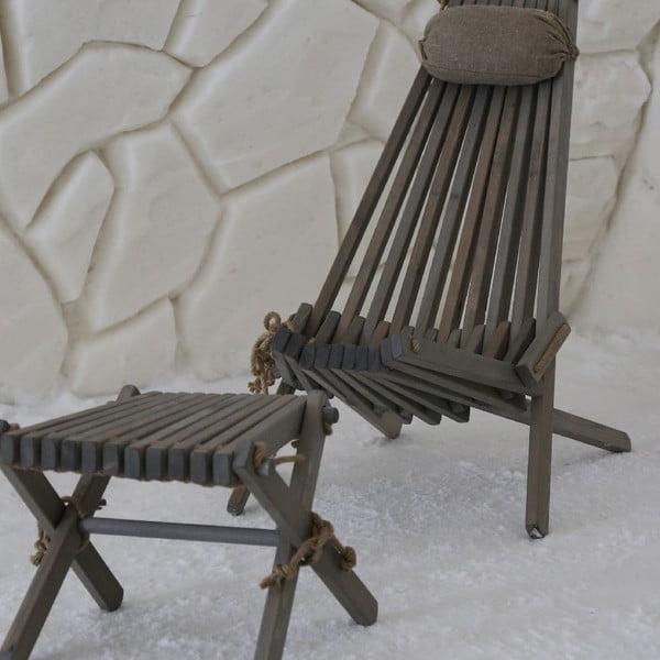 Stołek Lilli z szarego drewna sosnowego EcoFurn