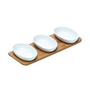 Zestaw 3 misek do serwowania na bambusowej tacy Oval Snacks