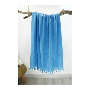 Niebieski ręcznik plażowy Hammam Beach, 90x180 cm