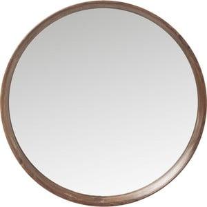 Lustro okrągłe w brązowej ramie z drewna Kare Design Denver, ⌀80cm