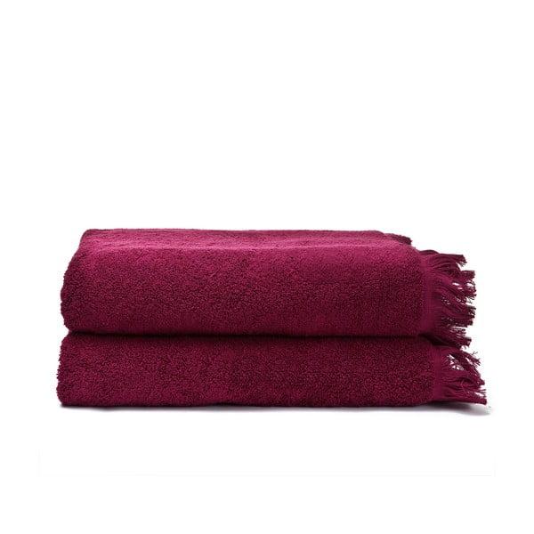 Komplet 2 bordowych ręczników kąpielowych Casa Di Bassi Bath, 100x160 cm