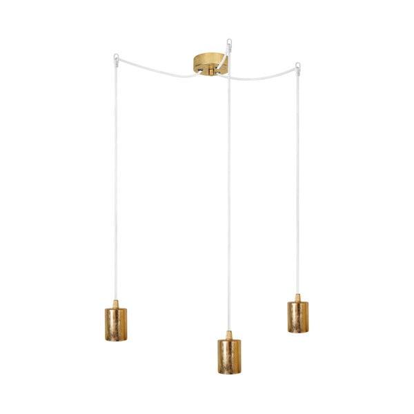 Biało-złota potrójna lampa wisząca Cero
