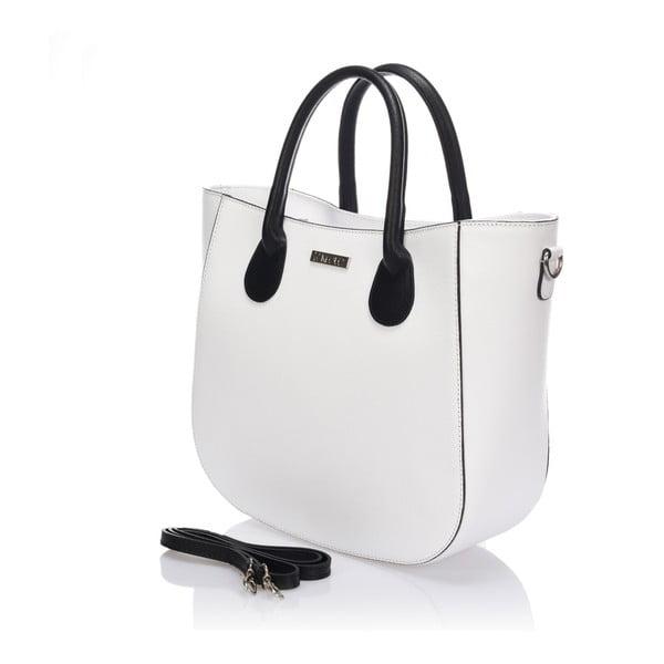 Skórzana torebka Krole Krista 28x32 cm, biała