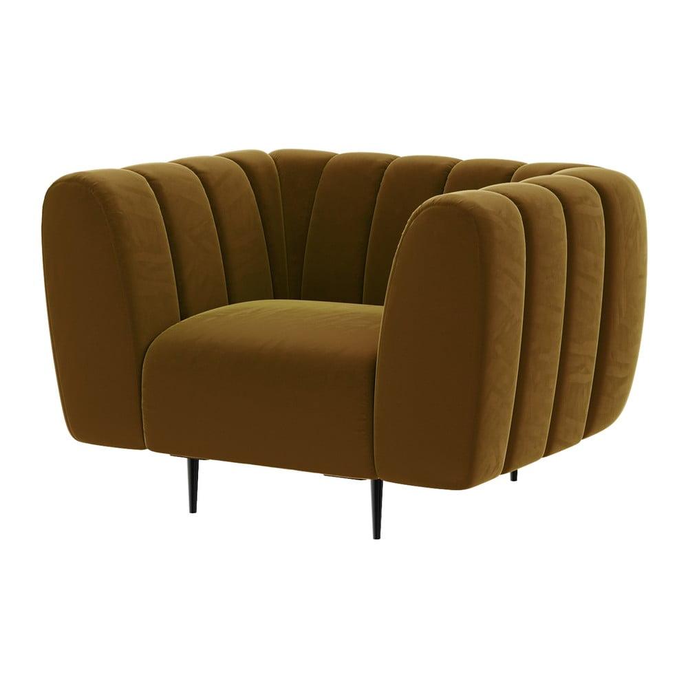 Miodowożółty fotel z aksamitnym obiciem Ghado Shel