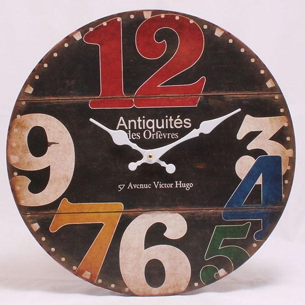Drewniany zegar 57 Avenue Victor Hugo, 34x34 cm