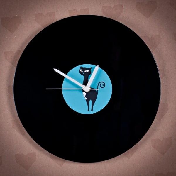 Winylowy zegar Niebieski kot