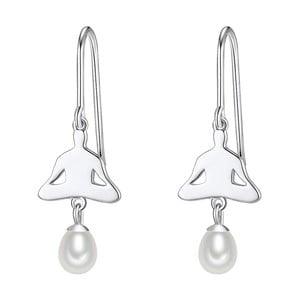 Srebrne   kolczyki z białą perłą Chakra Pearls Lotus