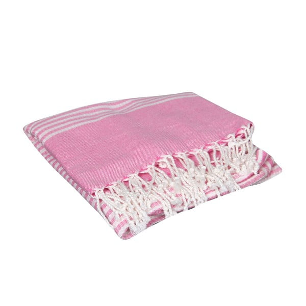 Ręcznik kąpielowy hammam Hermes Pink, 90x190 cm