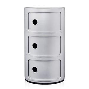 Srebrna szafka z 3 szufladami Kartell Componibili