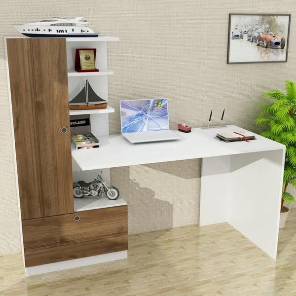 Białe biurko z regałem z dekorem drewna orzecha Domingos