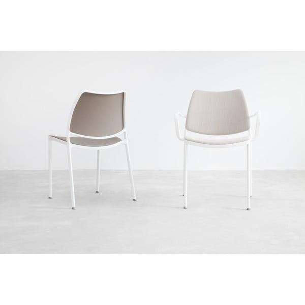 Krzesło Gas, szare, białe nogi