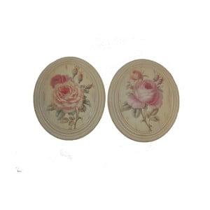 Zestaw 2 owalnych obrazów Vintage Rose