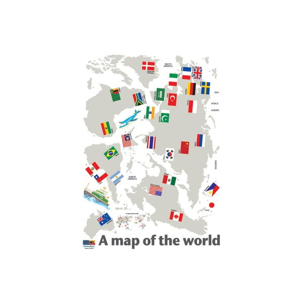 Naklejka World Map and Flags