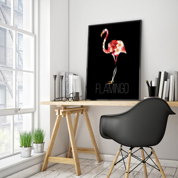Plakat z flamingiem, czarne tło, 30 x 40 cm