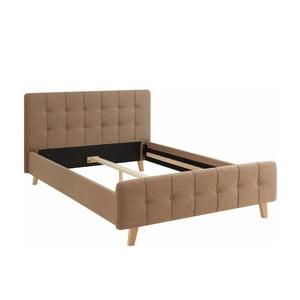 Brązowe łóżko dwuosobowe Støraa Limbo, 140x200cm