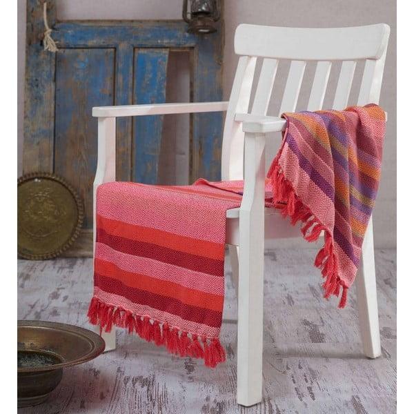 Czerwony ręcznik Hammam Renkli, 100x180cm