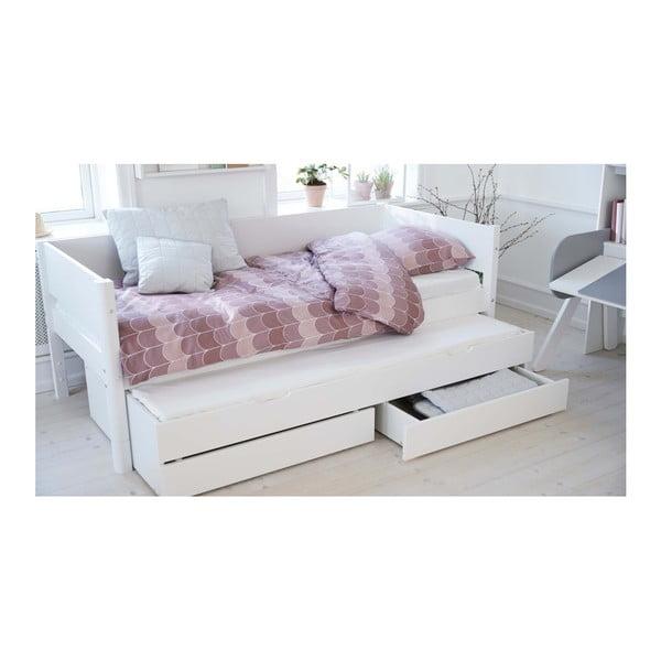 Białe dziecięce łóżko z dodatkowym wysuwanym łóżkiem i szufladą Flexa White