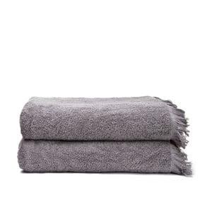 Komplet 2 szarych ręczników kąpielowych z bawełny Casa Di Bassi Bath, 100x160 cm