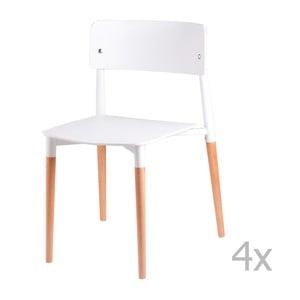 Zestaw 4 białych krzeseł z drewnianymi nogami sømcasa Claire