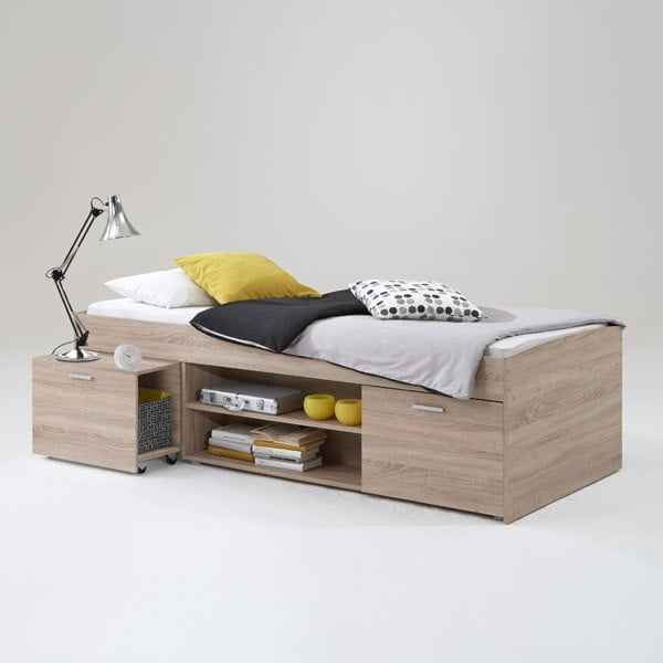 Łóżko jednoosobowe Carlo 90x200 cm, w kolorze dębu