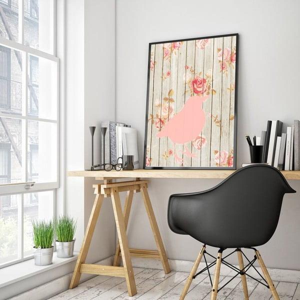 Plakat w drewnianej ramie Flower bird, 38x28 cm