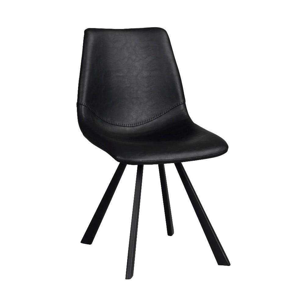 Czarne krzesło do jadalni z czarnymi nogami Rowico Alpha