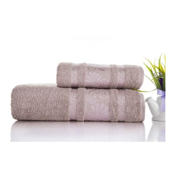 Zestaw 2 ręczników Carmen Light Lilac, 50x90 i 90x150 cm