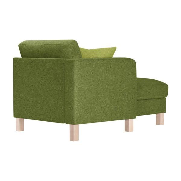 Zielony szezlong z jasnozieloną poduszką Stella Cadente Maison Maison Canoa, lewostronny